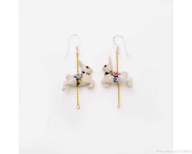 Merry Go Round Rabbit Earrings