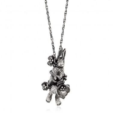 Bound Rabbit & Flowers Necklace